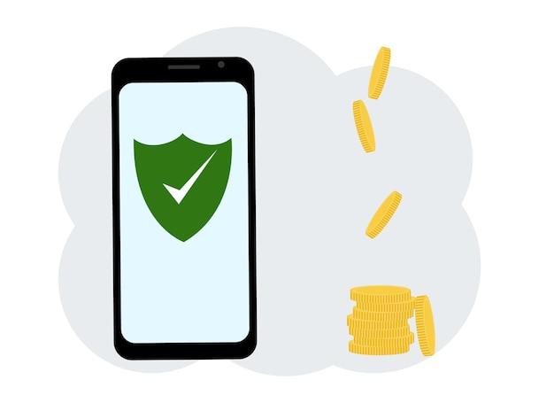 Software antivírus no telefone. existem muitas moedas por perto