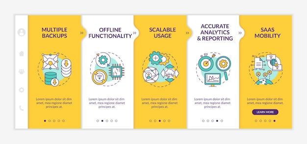 Software como modelo de integração de vantagens de serviço. funcionalidade offline. análise precisa. mobilidade. site móvel responsivo com ícones. telas de passo a passo da página da web. conceito de cor rgb