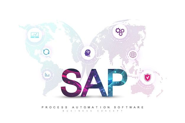 Software de automação de processos de negócios sap. modelo de banner do conceito de sistema de planejamento de recursos empresariais erp. conceito de ficção científica do futuro da tecnologia sap. inteligência artificial. ilustração vetorial