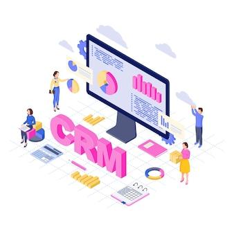 Software de crm, plataforma isométrica. análise e armazenamento de dados do cliente. conceito 3d do serviço de gestão de relacionamento com o cliente. automação comercial, vendas, analistas de estatísticas de marketing