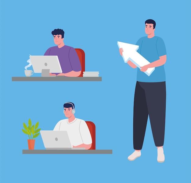 Software de desenvolvedores com personagens masculinos de computadores