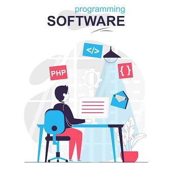 Software de programação isolado conceito de desenho animado programas de desenvolvedor em linguagem php