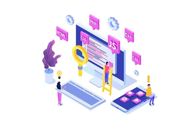 Software de programação ou conceito isométrico de desenvolvimento de aplicativo, processamento de big data. ilustração