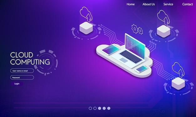 Software, desenvolvimento web, conceito de programação em nuvem.