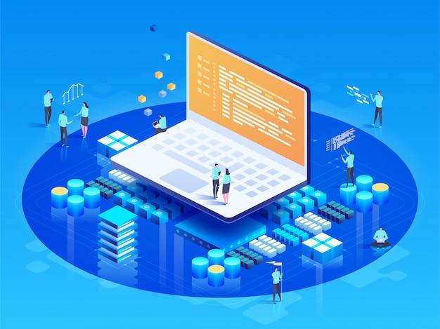Software, desenvolvimento web, conceito de programação. pessoas interagindo com laptop