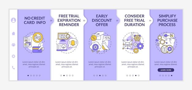 Software livre como modelo de integração de teste de serviço. lembrete de expiração. simplificando o processo de compra. site móvel responsivo com ícones. telas de passo a passo da página da web. conceito de cor rgb