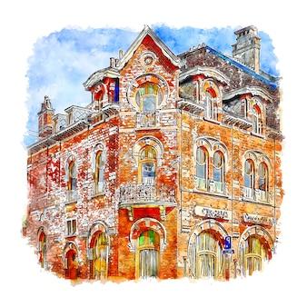 Soignies belgium ilustração em aquarela de esboço desenhado à mão