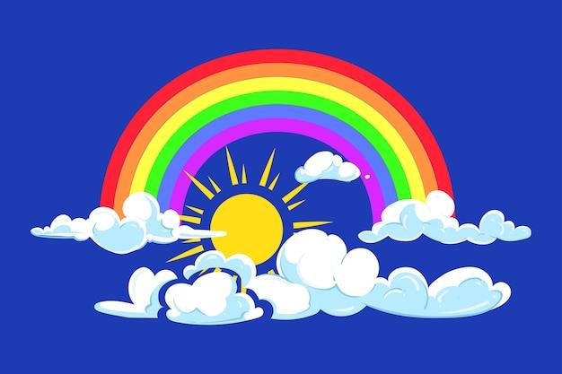 Sol, arco-íris e nuvens céu azul profundo
