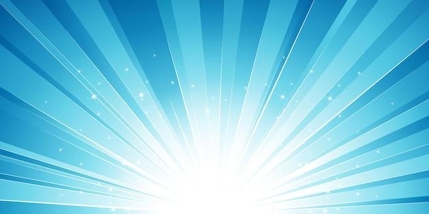 Sol azul estourou com efeito de luz e estrelas de fundo