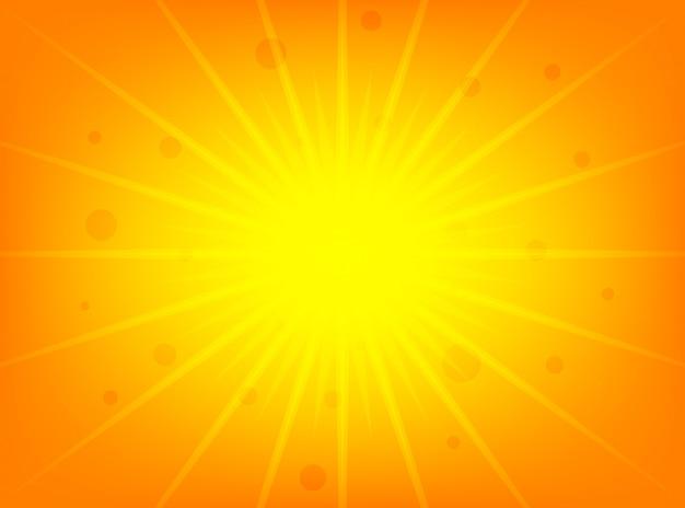 Sol brilhante de verão brilhante sobre um fundo amarelo