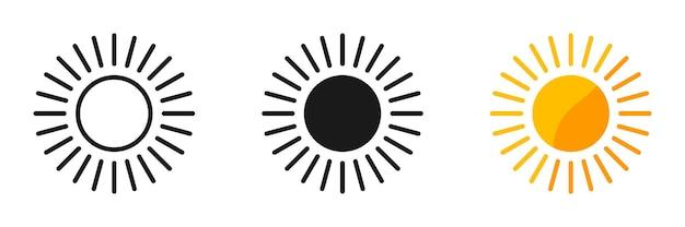 Sol. coleção de vetores de sol, isolada. ícones do vetor de sol. ilustração vetorial