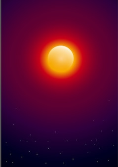 Sol com estrelas no espaço. de fundo vector