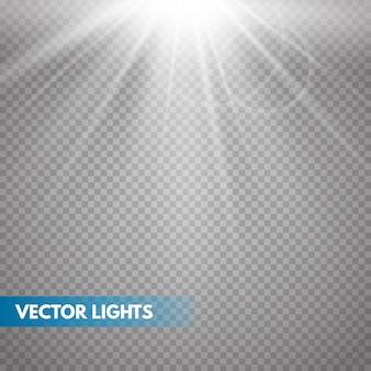 Sol com raios e vigas. efeito de luz quente de vetor