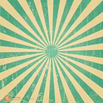 Sol de aumentação verde do vintage ou raio de sol, projeto de fundo retro explosão de sol