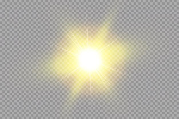 Sol de brilho brilhante isolado. efeito de luz de brilho.
