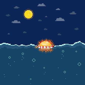 Sol de desenho animado pixel art flutuando no mar durante a noite.