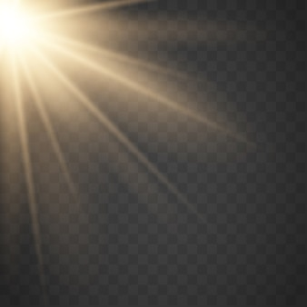 Sol de ouro com raios e vigas. efeito de luz quente de vetor