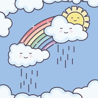 Sol de verão bonito e nuvens chuvosas com personagens de arco-íris kawaii
