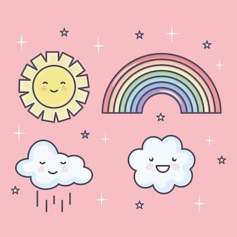 Sol de verão bonito e nuvens com arco-íris definir caracteres kawaii