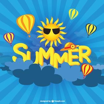 Sol de verão e balões de ar do vetor