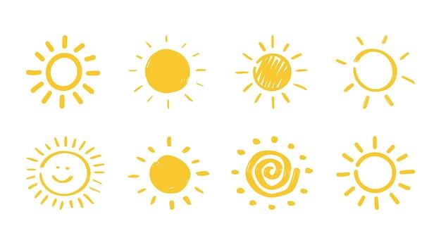 Sol desenhado à mão do vetor no fundo branco