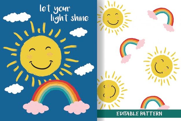 Sol desenhado à mão e arco-íris com padrões editáveis