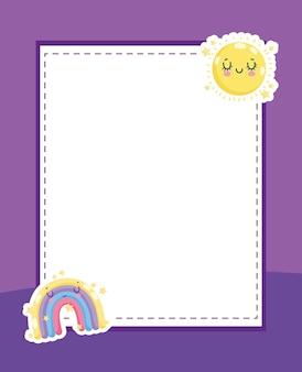 Sol e arco-íris fofos na folha de papel em branco