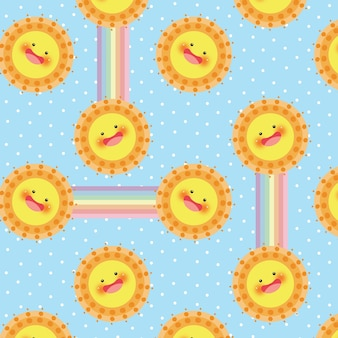Sol e arco-íris vector sem costura padrão