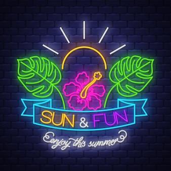 Sol e diversão, aproveite esta placa de sinal de néon de verão
