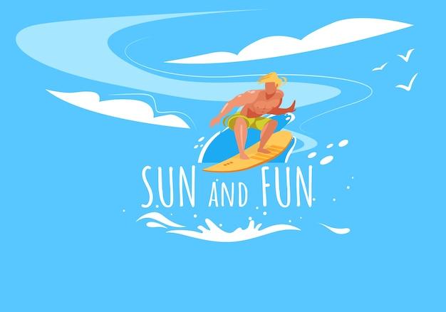 Sol e diversão com o homem a prancha de surf por ondas do oceano