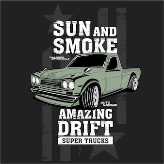 Sol e fumaça super deriva, ilustrações vetoriais de carros
