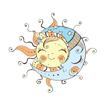 Sol e lua em um estilo fofo do doodle