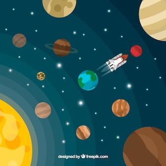 Sol e planetas de fundo em design plano