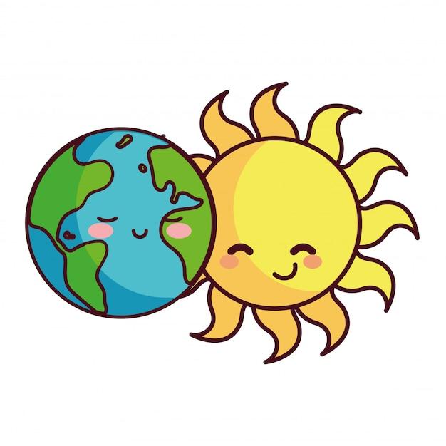 Sol e terra felizes acompanhados