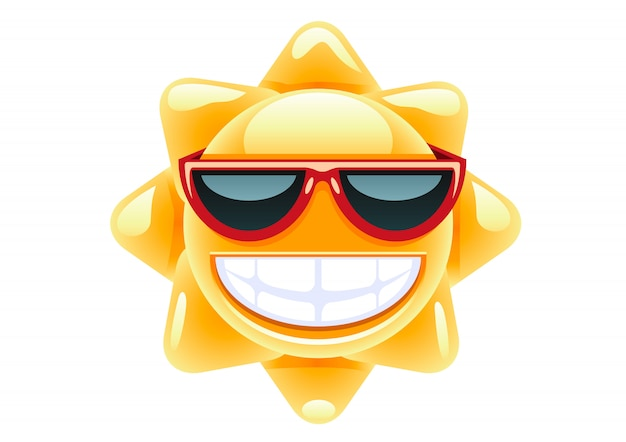 Sol em óculos vermelhos