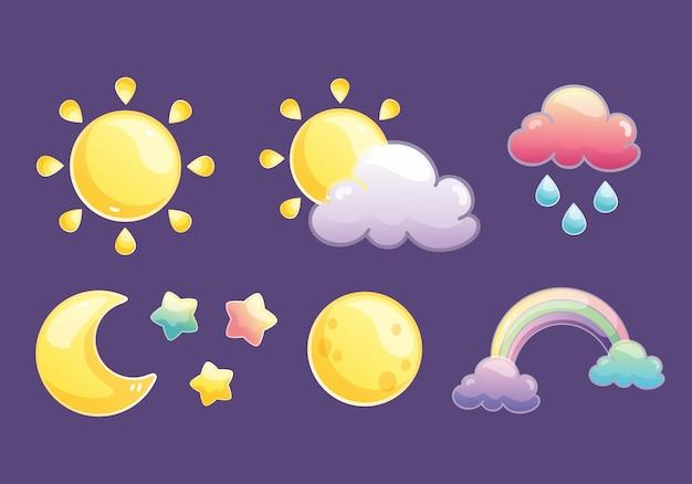 Sol estrela lua arco-íris grátis