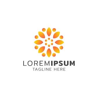 Sol flor logotipo design laranja cor