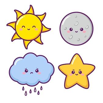 Sol fofo, lua, nuvem e estrela