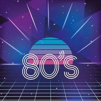 Sol gráfico e estilo de néon geométrico dos anos 80