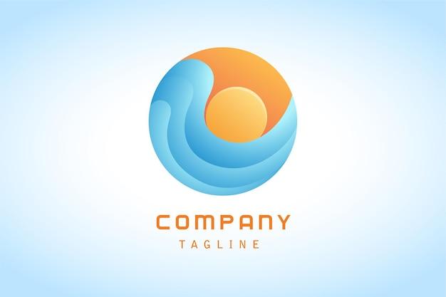 Sol laranja com logotipo gradiente de onda azul