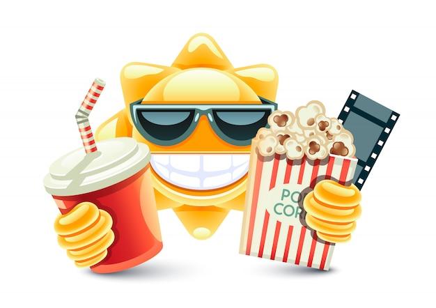 Sol no cinema com comida