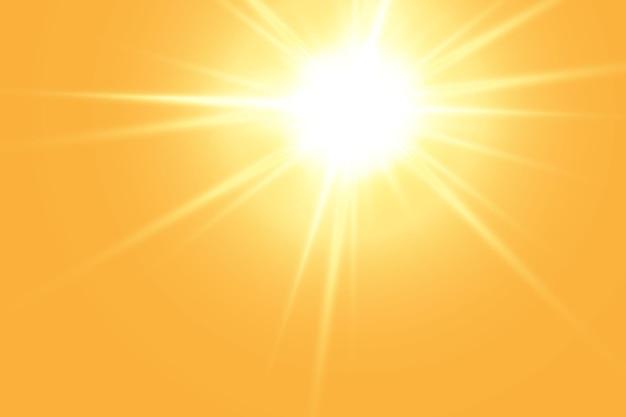 Sol quente em um fundo amarelo letobliki raios solares