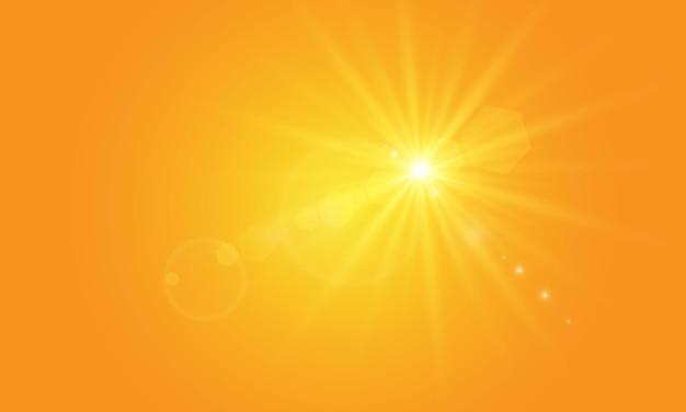 Sol quente em um fundo amarelo os raios solares letobliki variam de fundo amarelo