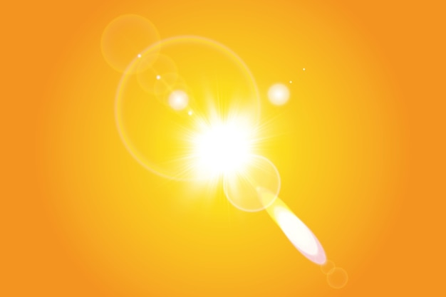 Sol quente em um fundo amarelo. verão. brilho raios solares.