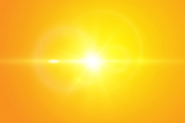 Sol quente sobre um fundo amarelo.
