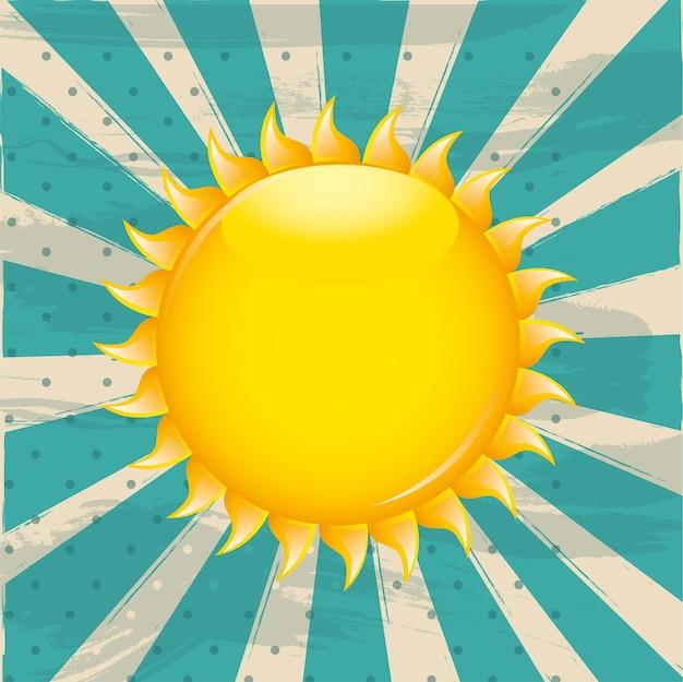 Sol sobre ilustração em vetor fundo grunge aquamarine