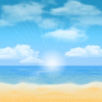 Sol sobre o horizonte do mar e as nuvens. vetor de fundo.