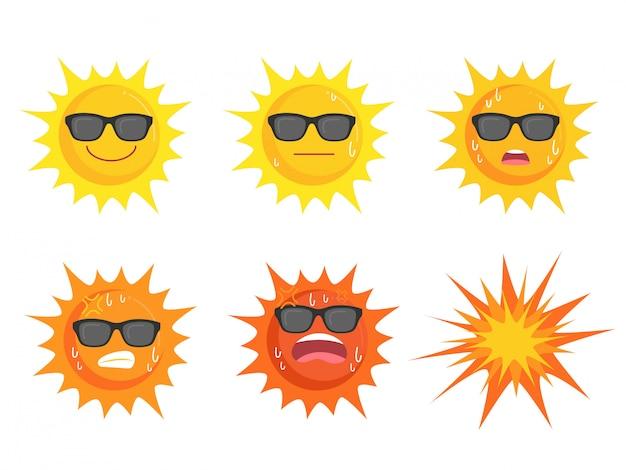 Sol usando óculos coleção de olhos