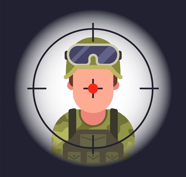 Soldado à vista de um atirador.