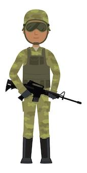 Soldado africano usar óculos e segurando a arma